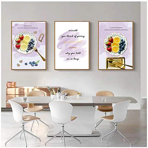 QYH fruitkunst afbeelding huis decoratie Nordic canvas schilderij muurkunst aardbei blauwe bessen brief poster voor woonkamer restaurant Decor40X60cm niet ingelijst