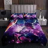 Homewish Juego de ropa de cama de unicornio acolchado para niñas tamaño King Galaxy Nebulosa, juego de colcha de unicornio morado con diseño de cuento de hadas para dormitorio decorativo