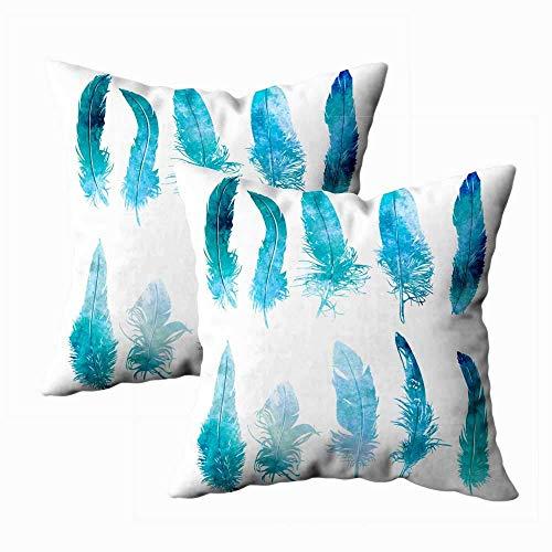 Juego de 2 fundas de almohada para exteriores, 45,7 x 45,7 cm, plumas de acuarela, color azul claro, decoración del hogar, fundas de almohada con cremallera, fundas de cojín para sofá o sofá