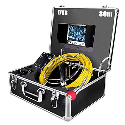 Industrie Inspektionskamera Endoskop 30m mit DVR, 7 zoll 1000TVL LCD Bildschirm Rohrkamera 4500mAh Akku Profi IP68 Wasserdichtes Kanalkamera mit 12 LED Licht für Rohr Inspektion (8GB SD-Karte enthält)