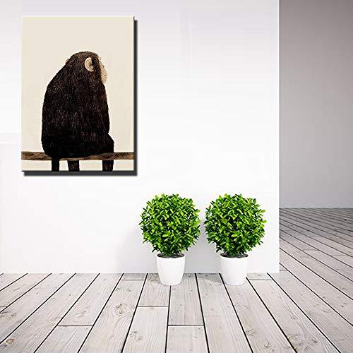 YuanMinglu Tiere Leinwand Wandbilder Wohnzimmer Wand AFFE und Hirsch nordische Poster und Drucke Kinderzimmer Babyzimmer Dekoration Rahmenlose Malerei40x60cm