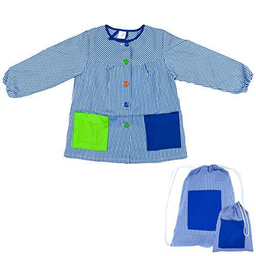 H HANSEL HOME Bata Escolar Infantil Baby Infantil de Cuadros Pequeños (Azul, 6-7 años) + Bolsa y Mochila Escolar para Llevar Fiambreras
