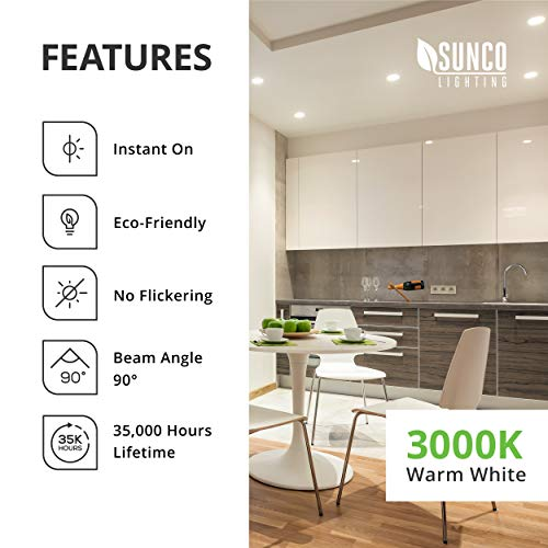 Sunco Lighting 4 Inch LED Recessed Downlight, Smooth Trim, Dimmable, 11W=40W, 3000K Warm White, 660 LM, Damp Rated, Simple Retrofit Installation - UL + Energy Star