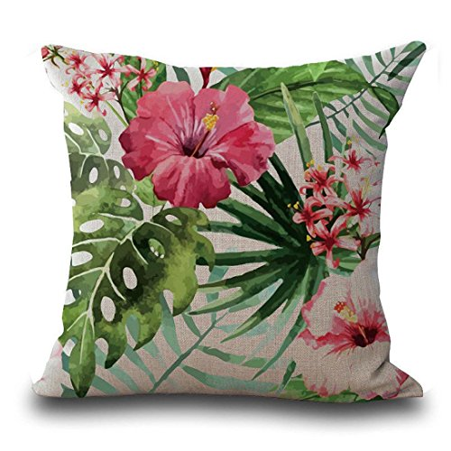 BESTOW Cushion Covers, Vintage Flower Tropical Leaves Pillow Case Home Decoration Square Sofa Bed Waist Throw Cushion Cover (Pattern B)