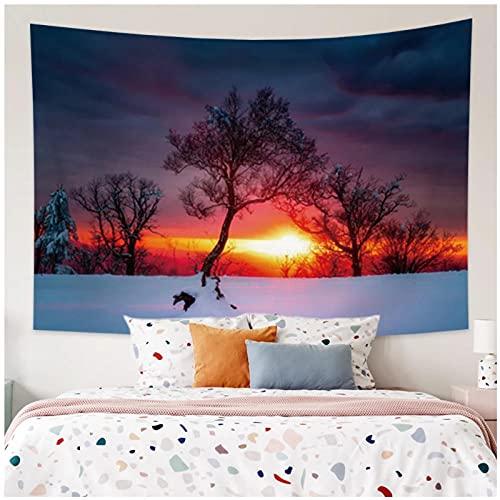 Tapiz by BD-Boombdl Puesta de sol bosque escena de nieve decorativa pared arte tela de fondo hogar dormitorio decoración Yoga Mat colcha 59.05'x39.37'Inch(150x100 Cm)