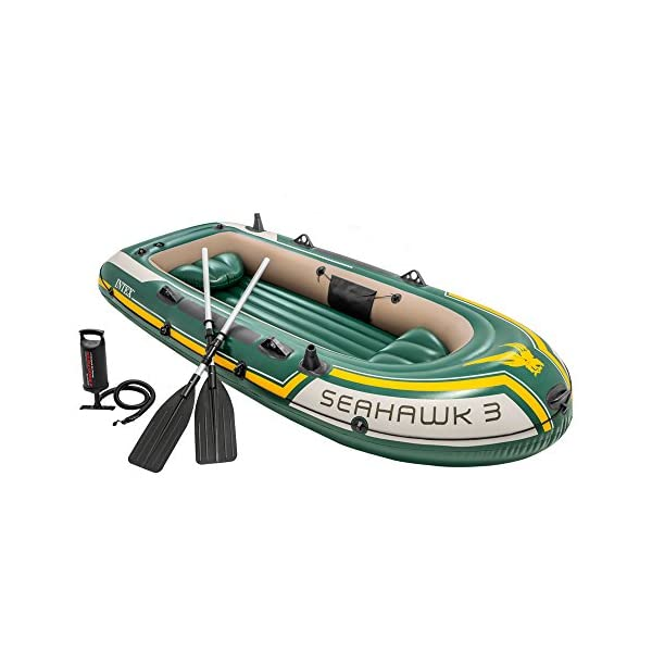 Intex Seahawk Inflatable Boat Set, 3-Person Boat Set with Oars + Inflator