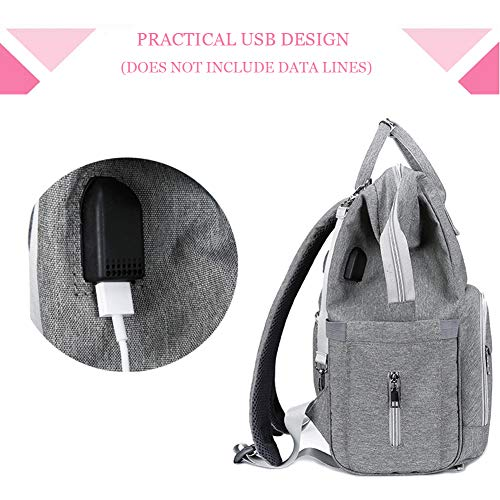 Diaper Backpack, Large Capacity Baby Bag, Multi-Function Travel Backpack Nappy Bags, Nursing Bag, Fashion Mummy, Roomy Waterproof for Baby Care,Gray