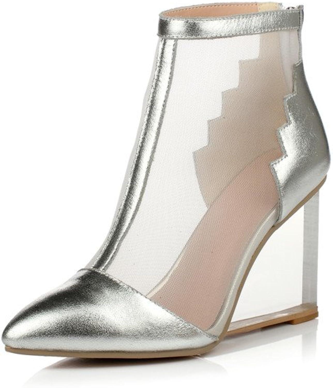 Nine Seven Genuine Leather and Mesh Women's Wedge Heel Pump