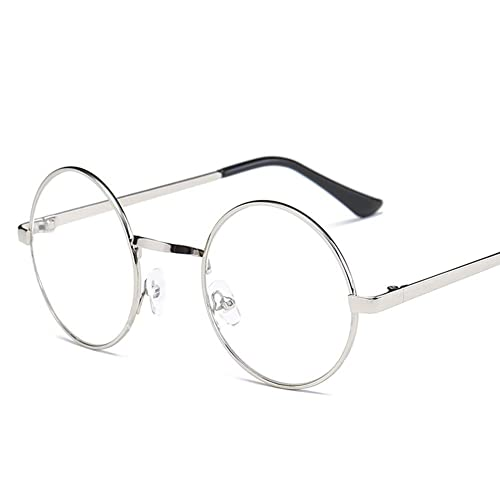 1a68b73386 Lovef Large Oversized Metal Frame Clear Lens Round Circle Vintage Eye  Glasses 5.4   2inch