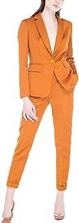 レディース 上下 パンツセット スーツ ジャケット 2点セット ストレッチ フォーマル カジュアル グリーン ベージュ オレンジ