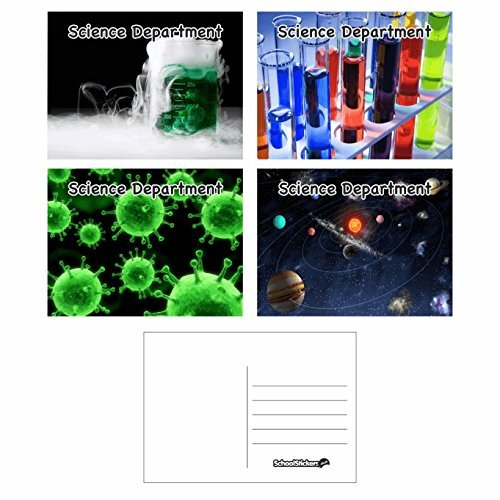 School Stickers Science School Postkarten – blanko Rückseite – Bumper Pack für Lehrer, Eltern und Schulen