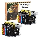 D&C 10er Set Cartuchos de tinta de impresora para Brother LC-221,LC-223,para Brother DCP-J4120DW,DCP-J562DW,MFC-J4420DW,MFC-J4620DW,MFC-J4625DW,MFC-J480DW,MFC-J5320DW,MFC-J5620DW,MFC-J5625,MFC-J5720DW