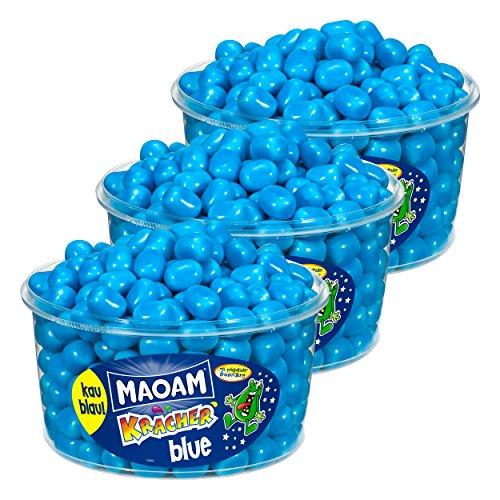 Haribo Maoam, 3er Pack, Kracher Blue / Blau, Dragees, Kaubonbon, 3600g Dosen