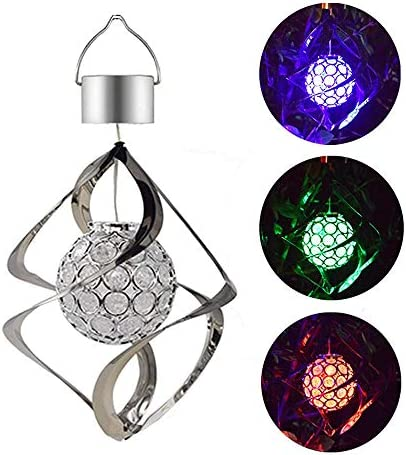 YUIOP Solar Powered Wind Chimes LED Spiral Spinner Lamp Colour Changing Hanging Wind Light Galaxy product image