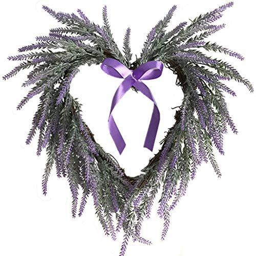 WANGFUFU Artificial Flowers Heartshaped Lavender Bow Wreath Wreath Outdoor for Front Door Wreath for Xmas and Winter Display - Lavender Wall Hanging Heart-Shaped Wreath