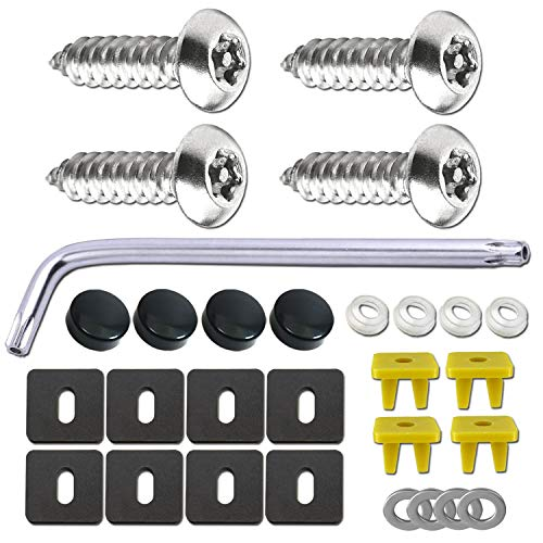 BGGTMO M5 Anti Theft License Plate Screws- Rust Proof Security Car Tag Screws Nuts Assortment Kit, 10 5mm Stainless Steel Self-Tapping Screws Bolts, Black Cap Covers, for Front/Rear Holder Frame