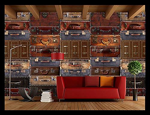 WLPBH zelfklevende 3D muurschildering retro koffer bagage koffer behang jongen kamer decoratie kinderen 3D foto muurschildering prinses muurschildering slaapkamer kinderkamer muur kunst decoratie achtergrond 250x175 cm (WxH) 5 stripes - self-adhesive