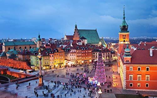 OKOUNOKO Puzzle 1000 Piezas, Varsovia, Polonia, Paisaje Urbano, Decoración para El Juego De Juguetes para El Hogar, 75X50Cm