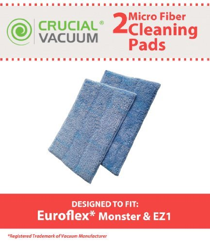 New 2PK Replacement Micro Fiber Cleaner Pads Designed To Fit Euroflex Monster EZ1 Steam Mop Model: Fits EZ1
