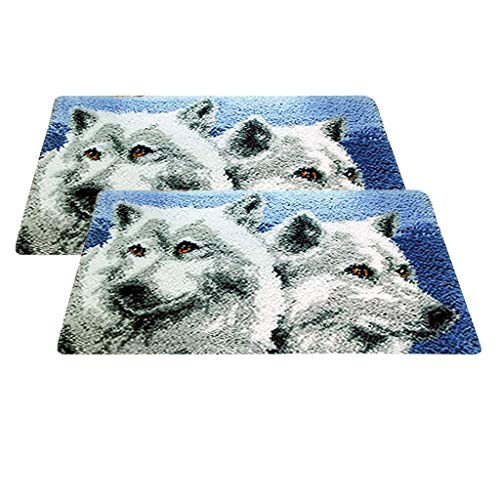 LuuhaStore - Latch Hook - 2 Set Diy Latch Hook Rug Kits Making Carpet Wolf Pattern Hooking Crafts 50x30cm 20x12 Inch - Door Loop Mouse Puppy Turtle Only Small Animal Braiding Elephan