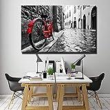 KWzEQ Paisaje Urbano y Rural Pintura al óleo Digital impresión Lienzo Arte Bicicleta roja Lienzo en la Calle,Pintura sin Marco,60x40cm