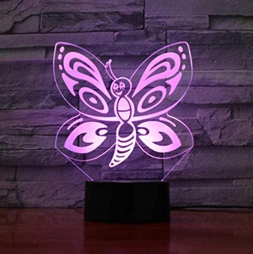 Boutiquespace 3D LED de 7 colores de cambio de luz de noche USB mariposa modelado insectos lámpara de mesa decoración del hogar iluminación para niños