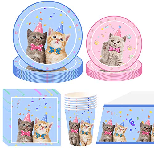 Amycute Cat Party Supplies Tableware Set 16 Guests, Cat Party Plates Cups Napkins Tablecloth Banner for Kitten Birthday Party Decorations (Cat)
