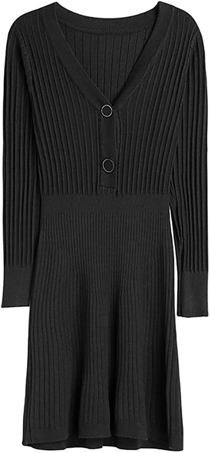 Women's VNeck Knit Dress, LongSleeved LongSleeved Women's Hooded Sweater Skirt Suitable for Spring and Autumn temperatures