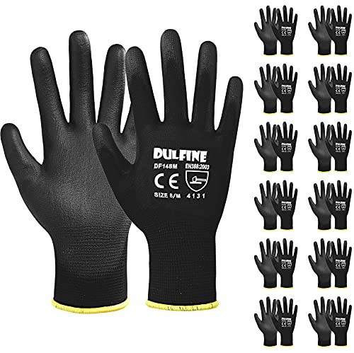 Ultra-Thin PU Coated Work Gloves-12 Pairs,Excellent Grip,Nylon Shell Black Polyurethane Coated Safety Work Gloves, Knit Wrist Cuff,Ideal for Light Duty Work. (Extra Large)
