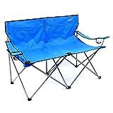 Divero Faltstuhl XXL Angelstuhl Doppelcampingstuhl 2-Sitzer mit Armlehne blau Campingbank bis 170 kg