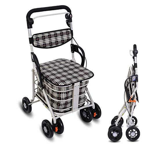 Mr.T Stechkarre Faltbare Einkaufswagen, vierrädrige Gehhilfe for Senioren, Lebensmittelgeschäft Warenkorb, mit Bremshebel, im Park spazieren tragbare Wagen