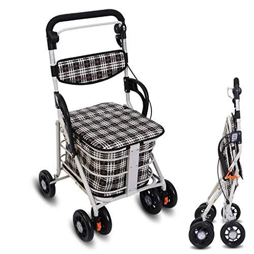 Shopping cart Opvouwbare winkelwagentje, vier-rollator for senioren, boodschappen kar, met remhendel, wandelen in het park Lichtgewicht winkelwagentje