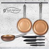 San Ignacio Copper Plus Set de 3 sartenes + 4 Cuchillos de Cocina