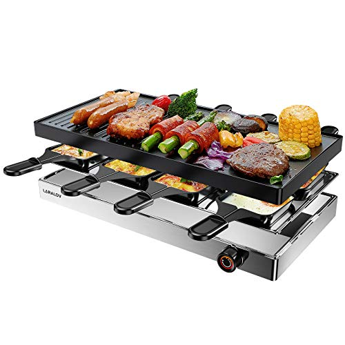 LaraLov Electric Indoor Grill, Smokeless Table Grill with 2 in 1 Non-Stick Plate Easy-to-Clean, Temperature Adjustable, Stainless Steel Electric Griddle for Parties, Camping and Family Dinner, 8-Serving,1500W