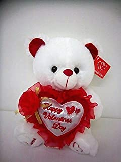 "White 9"" Musical Valentine Teddy Bear with Rose, Song, and ""Happy Valentine's Day"" Greeting on Heart"