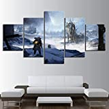 WARMBERL Cuadro sobre Lienzo 5 Unidades Frost Punk Video Juego Poster Fantasy Wall Art Game Art Snowscape Poster Painting Home Decoration Canvas Art Impresiones En Lienzo