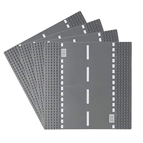 Feleph Stadt Gerade Straßengrundplatte 4 Stück Bausatz 10 x 10 Zoll Grundplatte für Bausteine Kompatibel mit Allen Wichtigen Marken (Gerade 4 Stück)