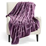 Bedsure Healing Thoughts Throw Blanket - Super Soft Flannel Fleece Blanket with Inspirational Positive Energy Healing Thoughts - Perfect Sympathy Breast Cancel Gifts Get Well Blanket for Women(Purple)
