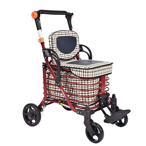 CAIyi Einkaufswagen Einkaufswagen Old Man Trolley Vierrädriger Gehwagen Kann einen zusammenklappbaren Rollstuhl tragen. Haushaltslebensmittelgeschäft Einkaufswagen Geschenk kann 100 kg tragen,rot,58