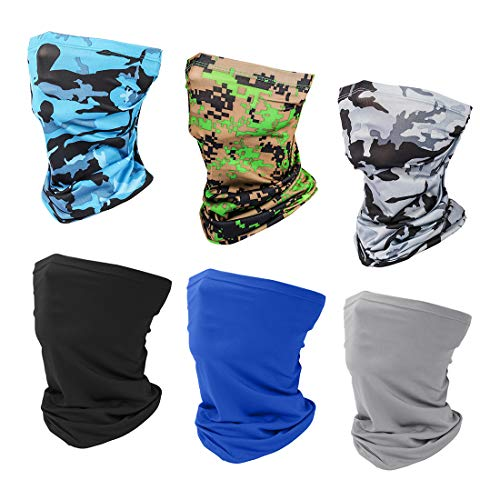 6 Pieces Sun UV Protection Face Mask Neck Gaiter Windproof Scarf Sunscreen Breathable Bandana Balaclava for Sport&Outdoor (6PACK(Style 1))