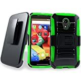 Motorola G (2nd Generation) Case, Mstechcorp Moto G (2nd Generation) Holster Case Cover with Belt Swivel Clip 2014 with Goodie (Green)