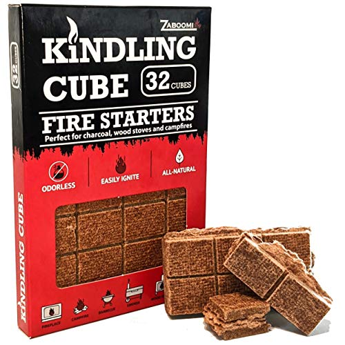 Kindling Cube Charcoal Fire Starter 32, Essential Outside, Inside Quick Lighting of Barbeque Grill, Fireplace, Campfire, Smoker, Wood Stove, Kamado, Big Green Egg, Lump Coal, All Natural BBQ Accessory