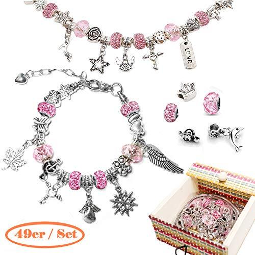 Miya Charm armband DIY set met 3 zilveren kettingen - sieraden knutselen set meisjes, parelarmband, leuk cadeau voor meisjes, ideaal voor het vullen van adventskalender