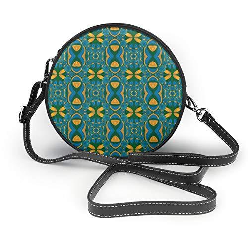 Wrution Nahtloses Tapetenmuster grünes Zeichnen runder Reißverschluss Schultertasche weiches Leder Kreise Geldbörse für Damen Personalisiert
