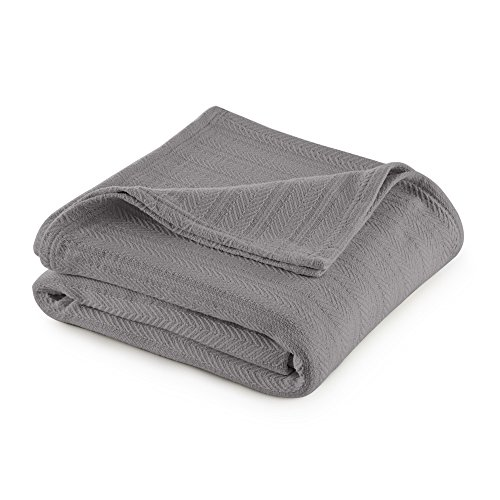 Vellux Cotton Woven Blanket, King, Gray