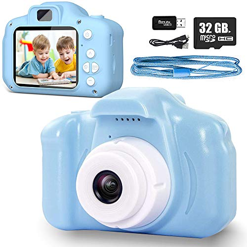 Yicente Cámara Infantil para Niños 1080P HD Cámara Juguete para Niños Selfie Foto Video Cámara Infantil con Tarjeta TF 32GB Video Cámara Digital Regalos para Niños Cámara para Niños Recargable