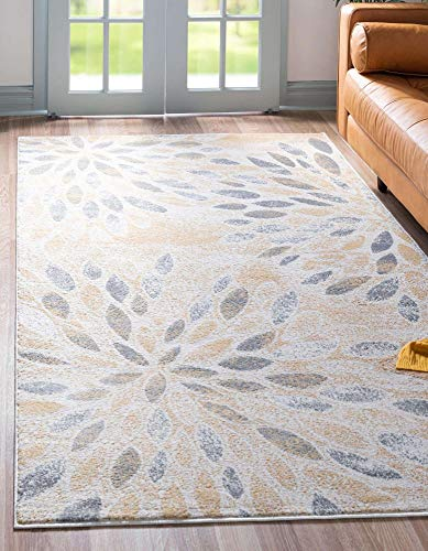 Unique Loom Sumter Collection Rhett Distressed Floral Area Rug, 8x10, Yellow/Ivory