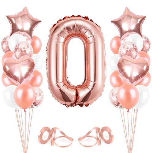 Bluelves Palloncini Compleanno 0, Oro Rosa Palloncini 0, Palloncino Numero 0, Palloncini Pompleanno, Compleanno Palloncini in Lattice Coriandoli Palloncini