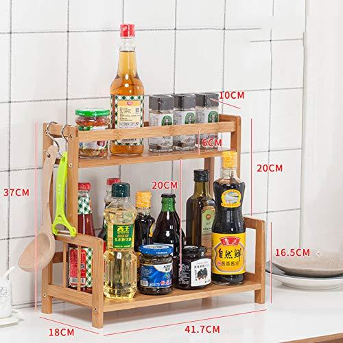 SXFYHXY Stojący stojak na przyprawy do kuchni łazienki, organizator do przechowywania na blat, bambusowe pojemniki na butelki z przyprawami stojak uchwyt 2-poziomowy półka do przechowywania na blat kuchenny