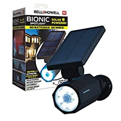 Solar powered with industrial quality sun panels; Easy installation ; no batteries needed; no messy electrical wiring Motion sensing – detects movement from 25 feet away - turns on automatically and shuts off 30 seconds after leaving vicinity of sens...